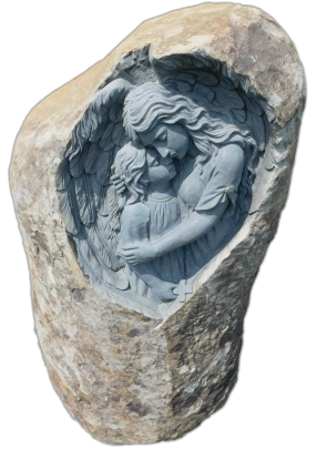 Rustic boulder with carving and cremation chambers