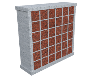 Double sided 72 niche columbarium with India Red doors