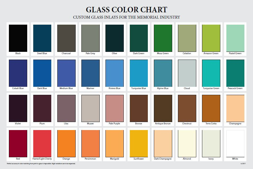 Permant Color Glass Inlays Chart